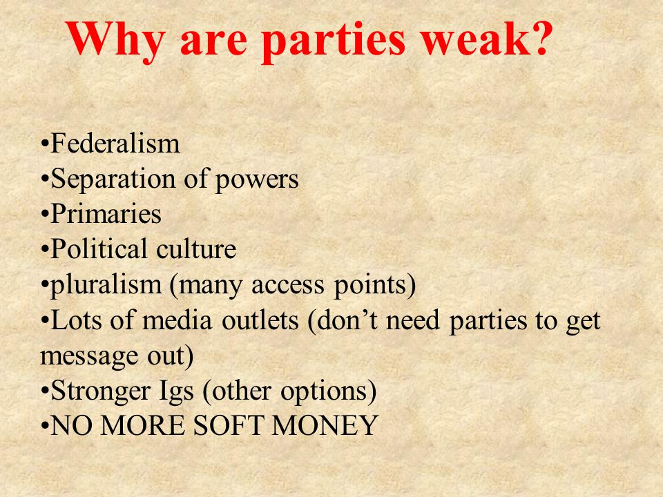 Why are parties weak.