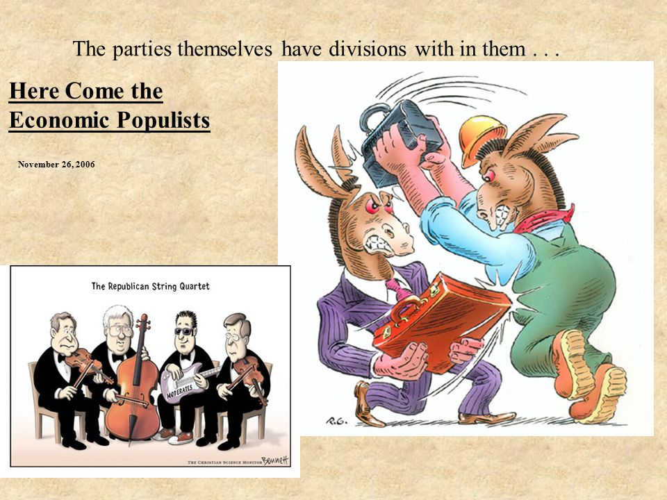 November 26, 2006 Here Come the Economic Populists The parties themselves have divisions with in them...