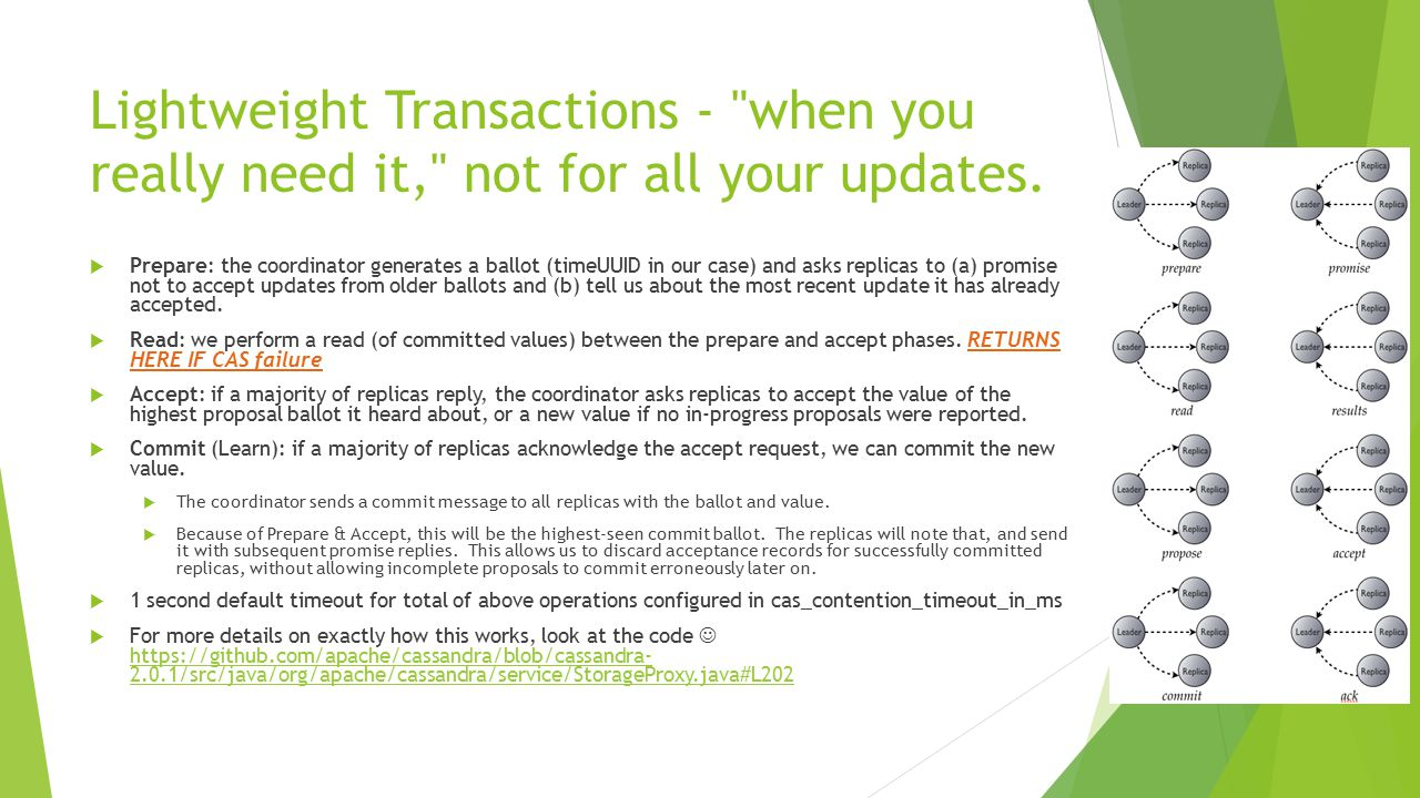 Lightweight Transactions - when you really need it, not for all your updates.