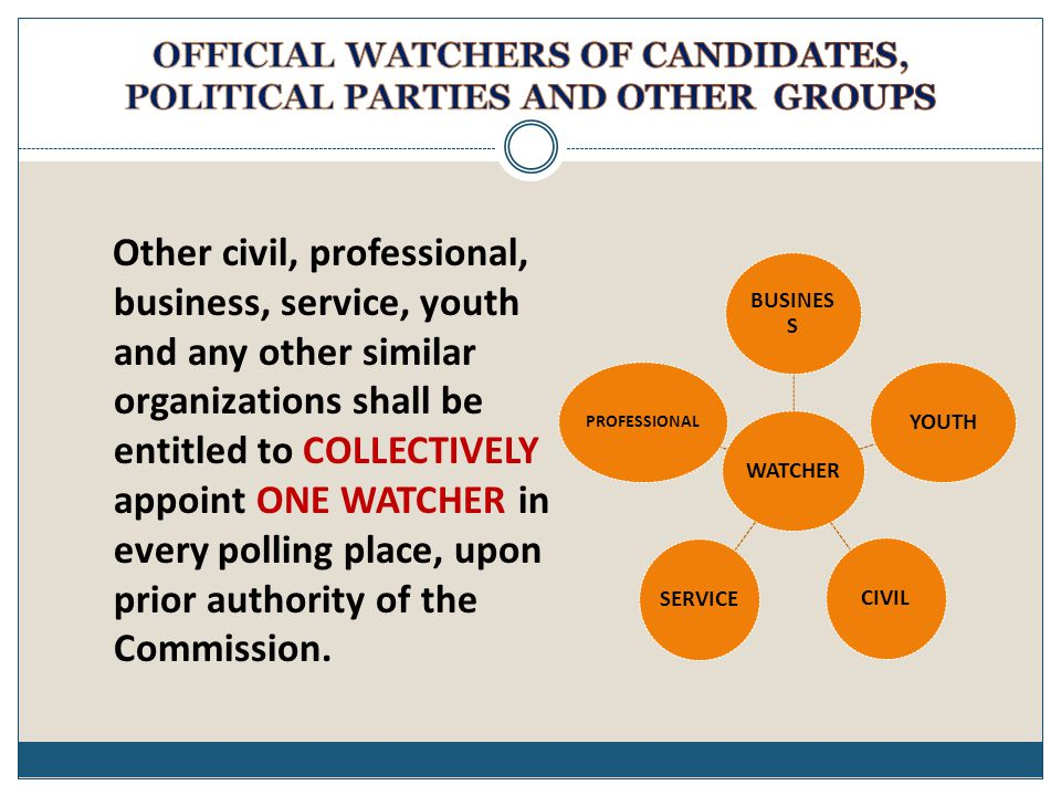 Other civil, professional, business, service, youth and any other similar organizations shall be entitled to COLLECTIVELY appoint ONE WATCHER in every