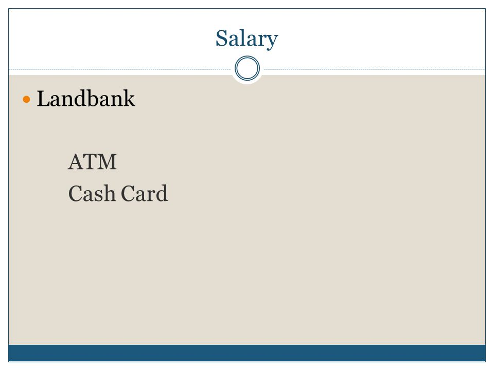 Salary Landbank ATM Cash Card