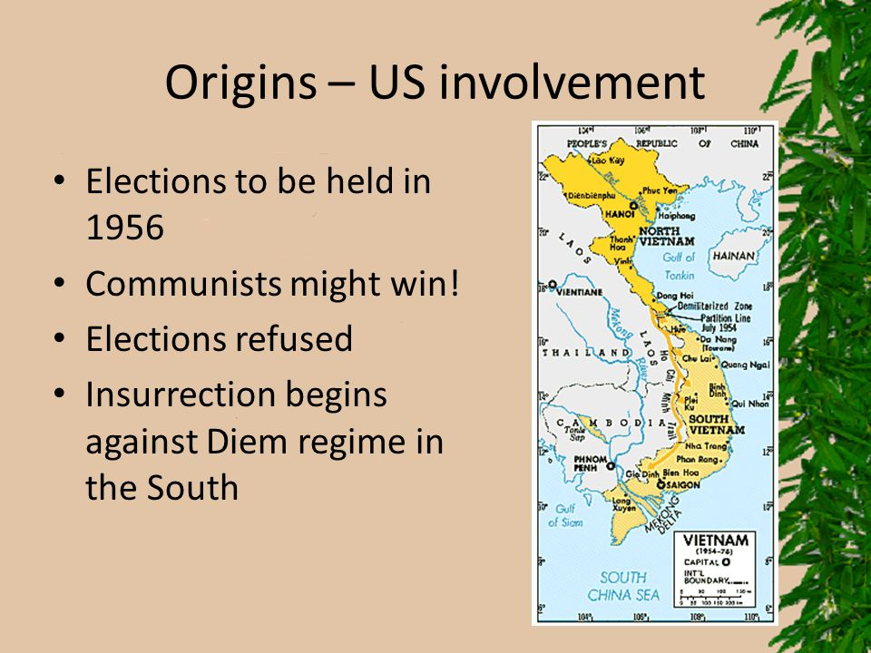 Origins – US involvement Elections to be held in 1956 Communists might win! Elections refused Insurrection begins against Diem regime in the South