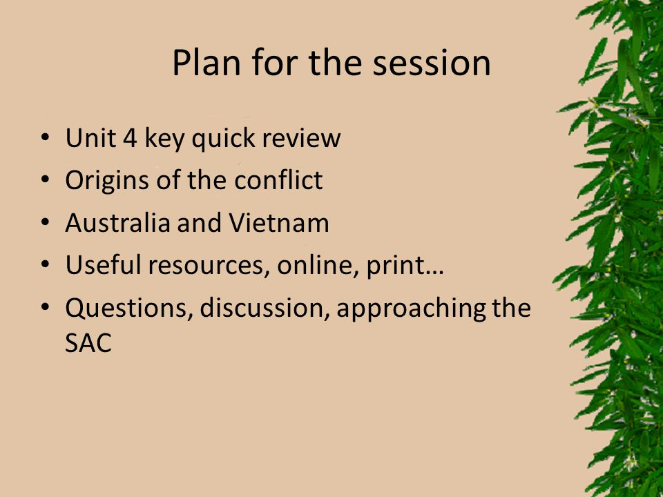 Plan for the session Unit 4 key quick review Origins of the conflict Australia and Vietnam Useful resources, online, print… Questions, discussion, app