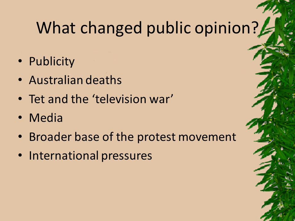 What changed public opinion? Publicity Australian deaths Tet and the 'television war' Media Broader base of the protest movement International pressur