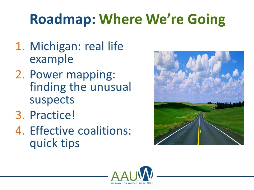 Roadmap: Where We're Going 1.Michigan: real life example 2.Power mapping: finding the unusual suspects 3.Practice.
