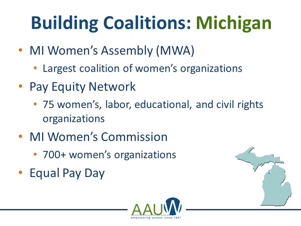Building Coalitions: Michigan Council About Parochiaid (CAP) PTS, ACLU, NCJW, AFT, and other similar organization Michigan for Public Education (MFPE) Anti-Affirmative Action Ballot Proposal 200+ organizations coordinated by MI Civil Rights Initiative