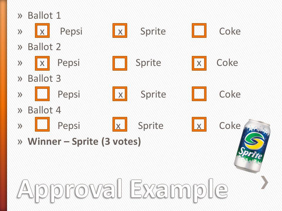 » Ballot 1 » x Pepsi x Sprite Coke » Ballot 2 » x Pepsi Sprite x Coke » Ballot 3 » Pepsi x Sprite Coke » Ballot 4 » Pepsi x Sprite x Coke » Winner – Sprite (3 votes)