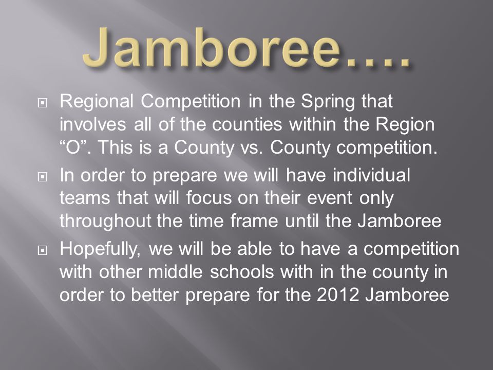  Regional Competition in the Spring that involves all of the counties within the Region O .