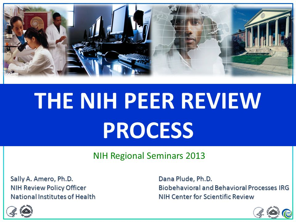 THE NIH PEER REVIEW PROCESS Sally A. Amero, Ph.D.Dana Plude, Ph.D. NIH Review Policy OfficerBiobehavioral and Behavioral Processes IRG National Instit