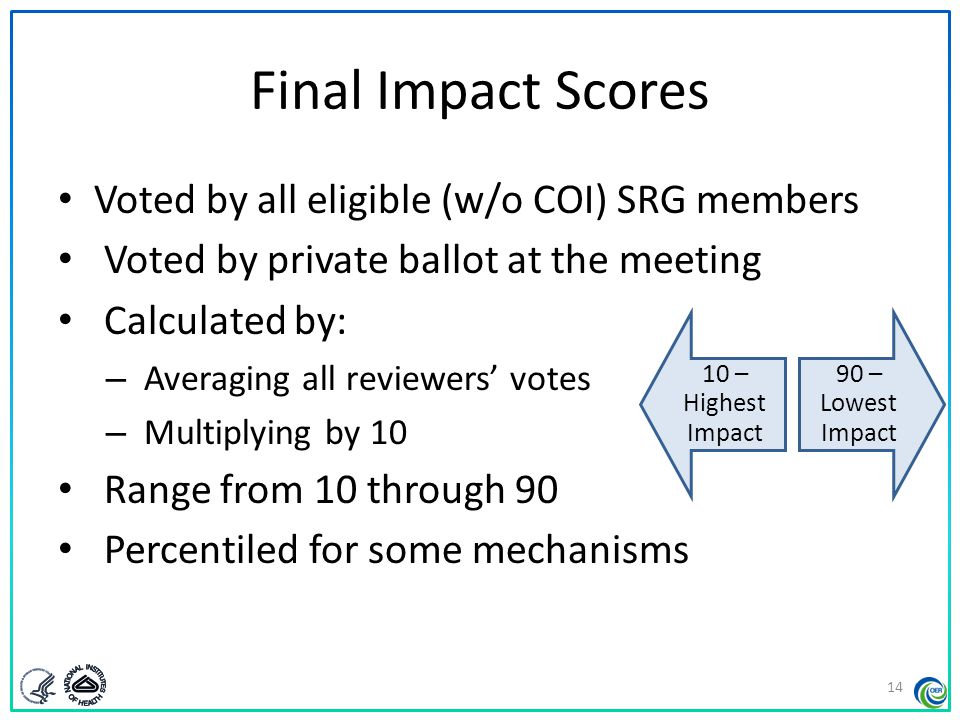 Final Impact Scores Voted by all eligible (w/o COI) SRG members Voted by private ballot at the meeting Calculated by: – Averaging all reviewers' votes