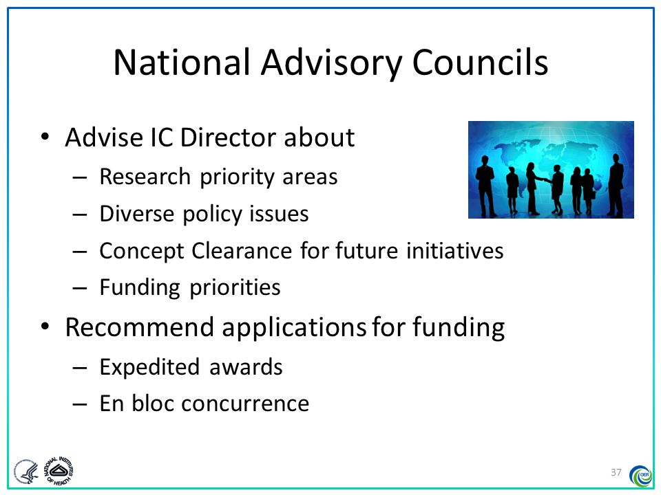 National Advisory Councils Advise IC Director about – Research priority areas – Diverse policy issues – Concept Clearance for future initiatives – Fun