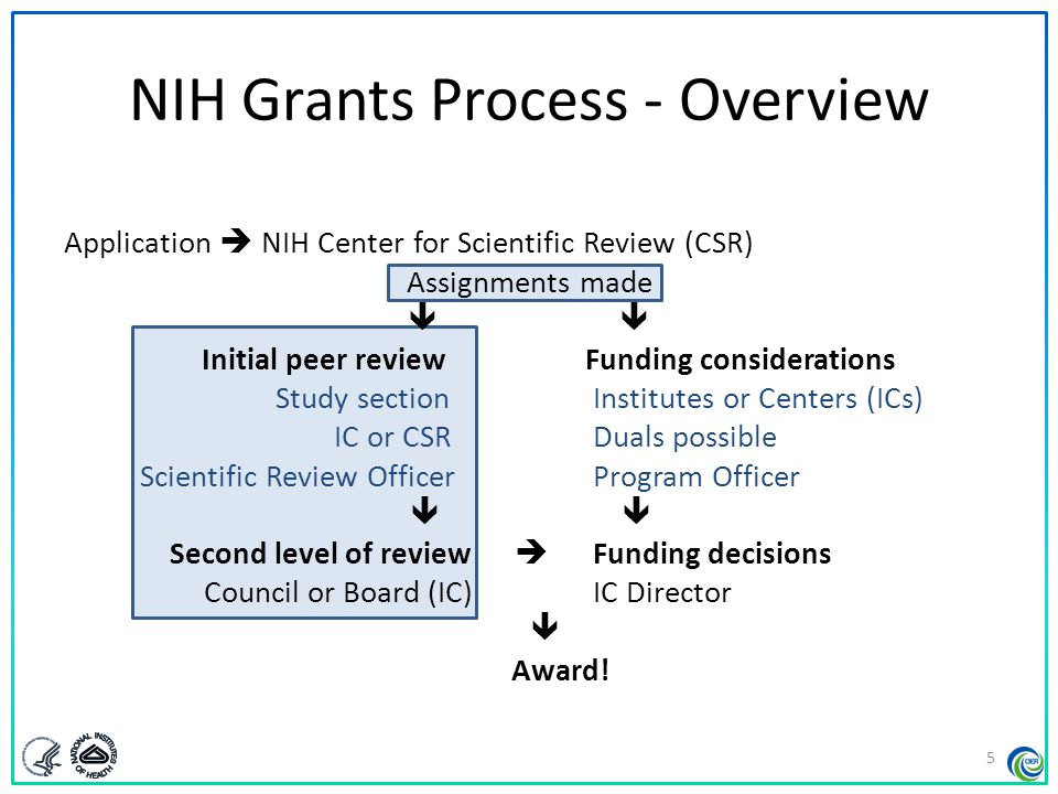 NIH Grants Process - Overview Application  NIH Center for Scientific Review (CSR) Assignments made  Initial peer review Funding considerations Study