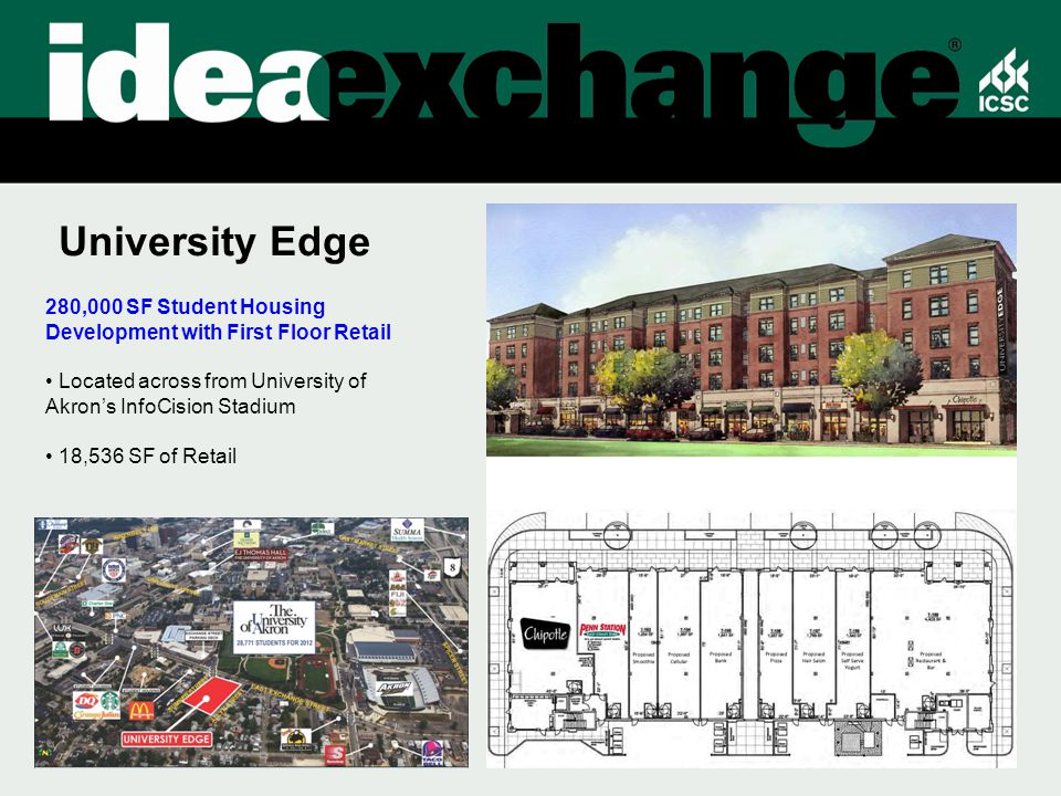 University Edge 280,000 SF Student Housing Development with First Floor Retail Located across from University of Akron's InfoCision Stadium 18,536 SF of Retail