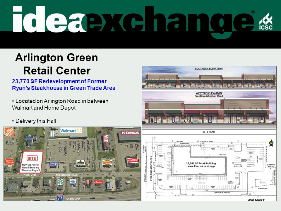 Arlington Green Retail Center 23,770 SF Redevelopment of Former Ryan's Steakhouse in Green Trade Area Located on Arlington Road in between Walmart and Home Depot Delivery this Fall