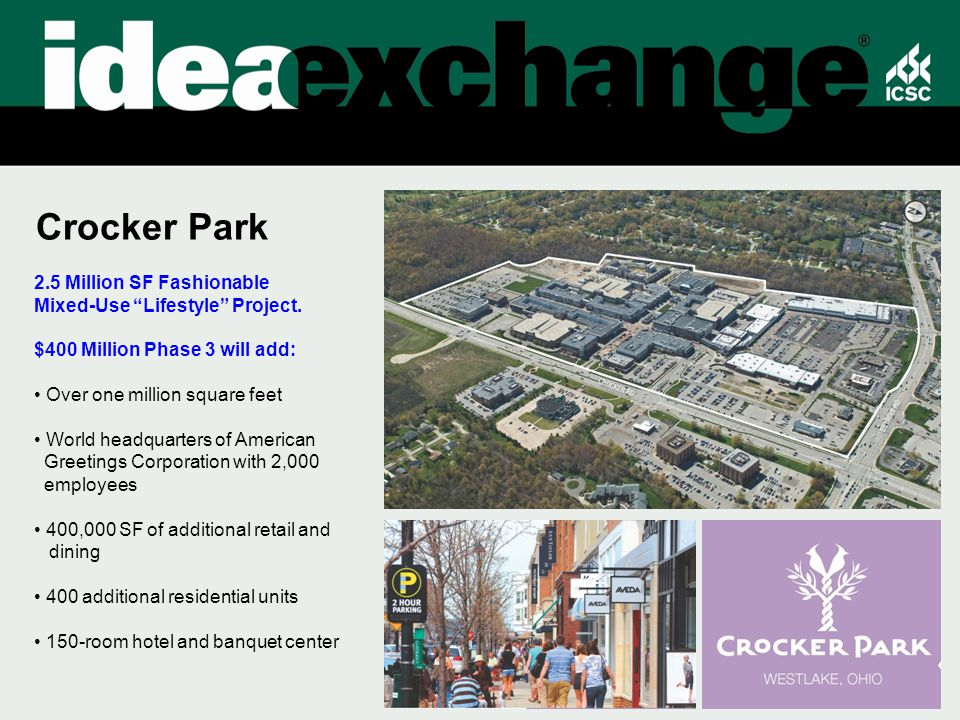 Crocker Park 2.5 Million SF Fashionable Mixed-Use Lifestyle Project.