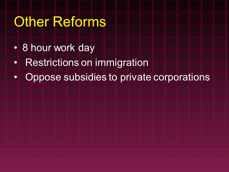 Other Reforms 8 hour work day Restrictions on immigration Oppose subsidies to private corporations