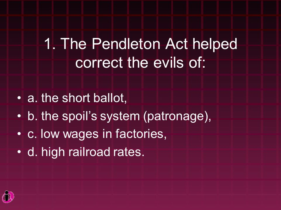 1.The Pendleton Act helped correct the evils of: a.