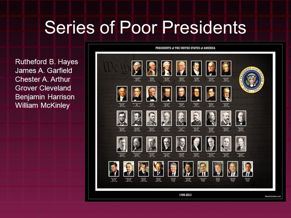 Series of Poor Presidents Rutheford B. Hayes James A.