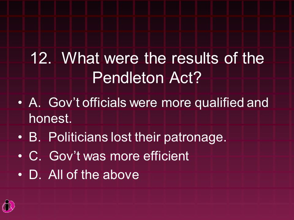 12.What were the results of the Pendleton Act. A.