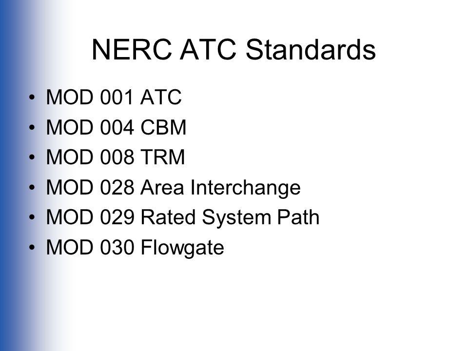 NERC ATC Standards MOD 001 ATC MOD 004 CBM MOD 008 TRM MOD 028 Area Interchange MOD 029 Rated System Path MOD 030 Flowgate