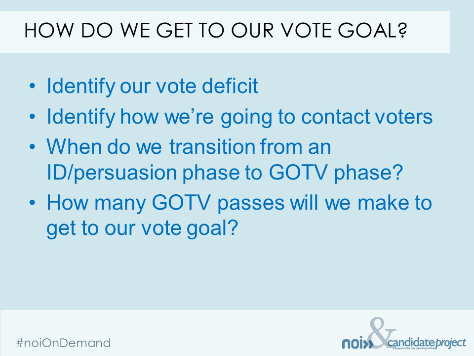& #noiOnDemand HOW DO WE GET TO OUR VOTE GOAL? Identify our vote deficit Identify how we're going to contact voters When do we transition from an ID/p