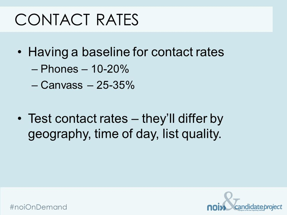 & #noiOnDemand Having a baseline for contact rates –Phones – 10-20% –Canvass – 25-35% Test contact rates – they'll differ by geography, time of day, l