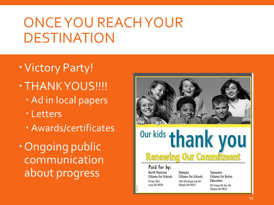 ONCE YOU REACH YOUR DESTINATION  Victory Party.  THANK YOUS!!!.