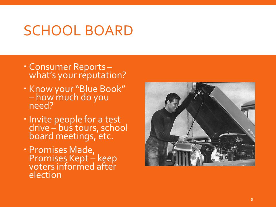 SCHOOL BOARD  Consumer Reports – what's your reputation.