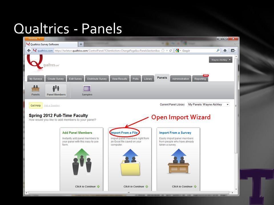 Qualtrics - Panels Open Import Wizard