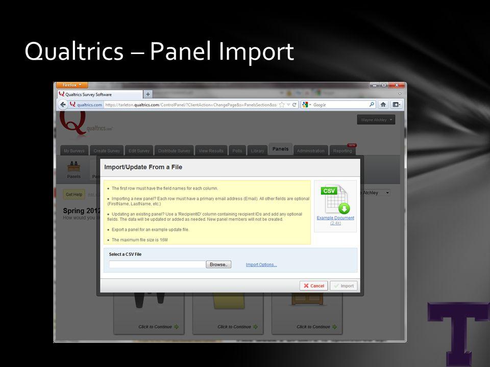 Qualtrics – Panel Import