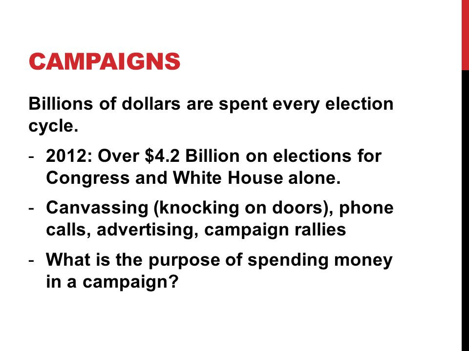 CAMPAIGNS Billions of dollars are spent every election cycle.
