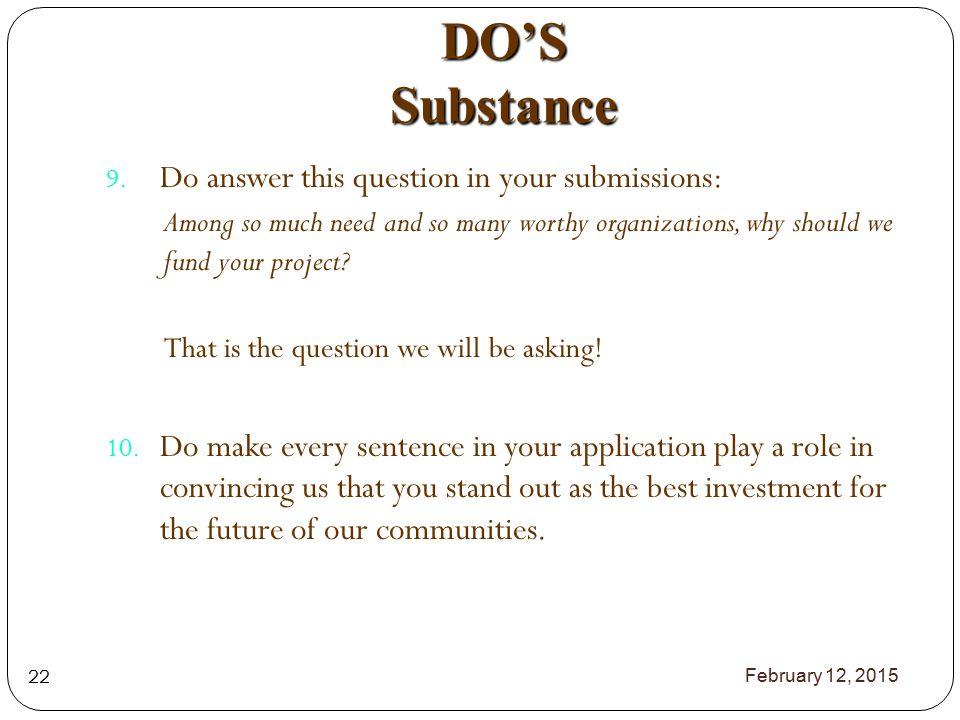 DO'S Substance 9.