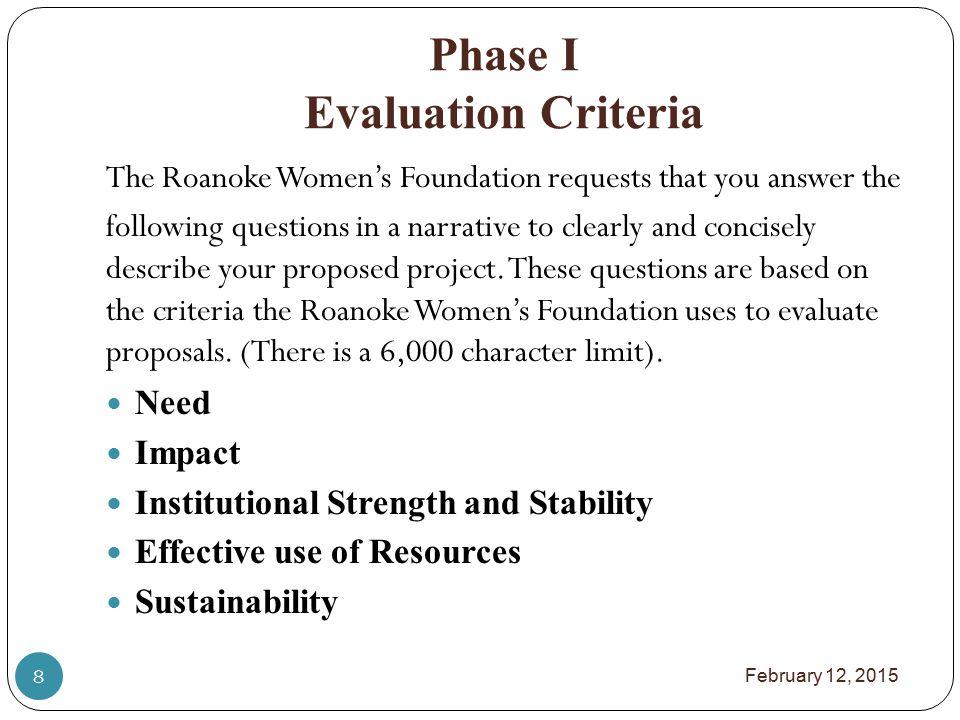 Phase I Evaluation Criteria NEED 1.