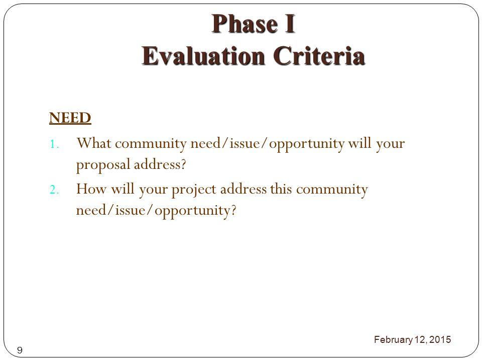 Phase I Evaluation Criteria IMPACT 1.
