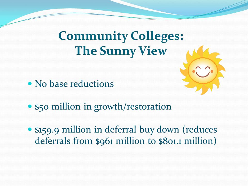 Community Colleges: The Sunny View SB 361 left in place Governor's proposal to repeal FTES-based funding system was rejected by the Legislature No policy changes to categorical programs Governor's consolidation proposal was rejected by the Legislature No COLA Last COLA was 2007-08