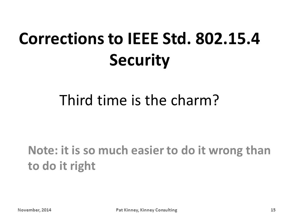 Corrections to IEEE Std. 802.15.4 Security Third time is the charm.