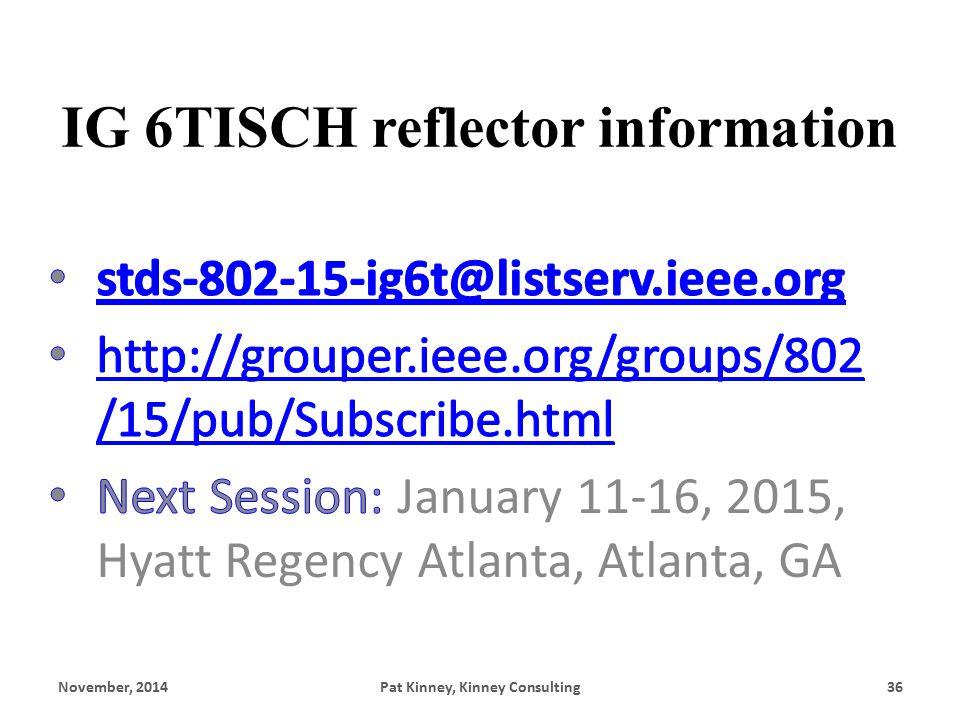 IG 6TISCH reflector information November, 2014Pat Kinney, Kinney Consulting36