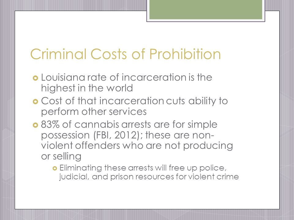 Criminal Costs of Prohibition  Louisiana rate of incarceration is the highest in the world  Cost of that incarceration cuts ability to perform other services  83% of cannabis arrests are for simple possession (FBI, 2012); these are non- violent offenders who are not producing or selling  Eliminating these arrests will free up police, judicial, and prison resources for violent crime
