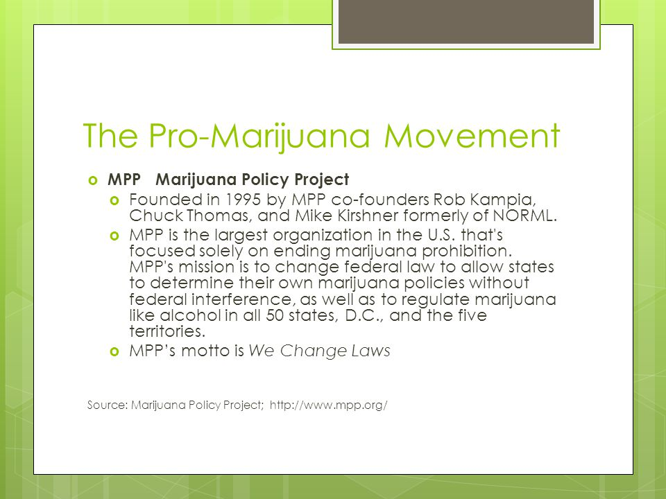 The Pro-Marijuana Movement  MPP Marijuana Policy Project  Founded in 1995 by MPP co-founders Rob Kampia, Chuck Thomas, and Mike Kirshner formerly of NORML.