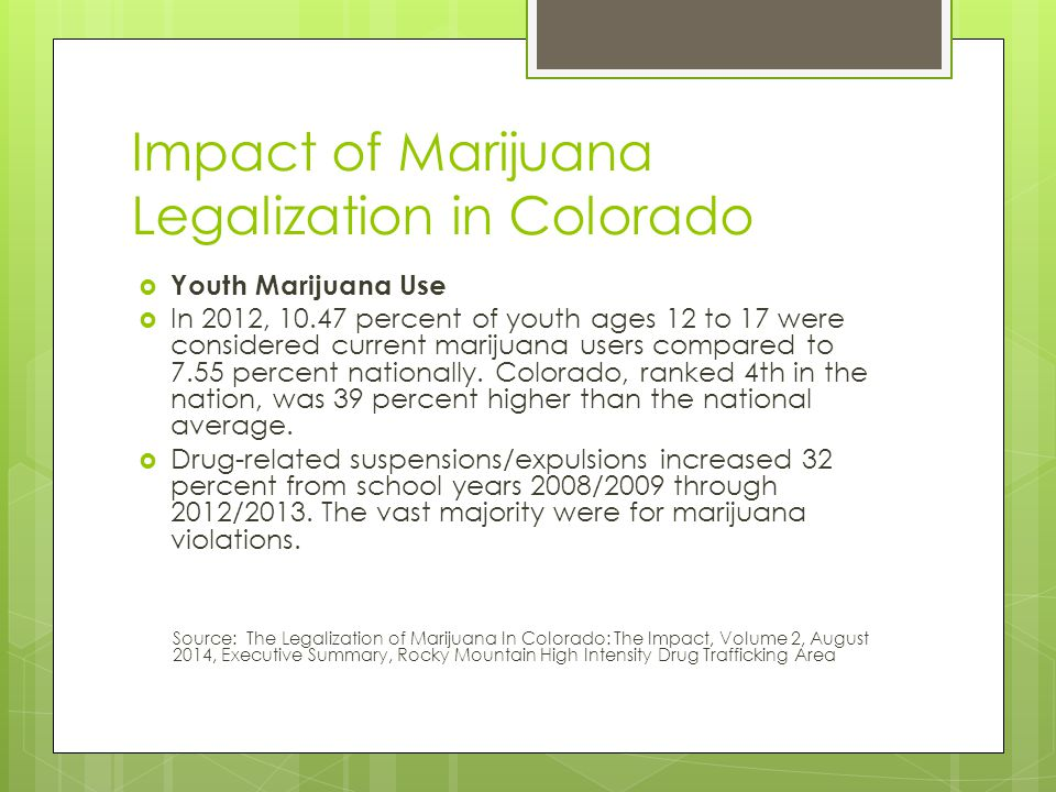 Impact of Marijuana Legalization in Colorado  Youth Marijuana Use  In 2012, 10.47 percent of youth ages 12 to 17 were considered current marijuana users compared to 7.55 percent nationally.