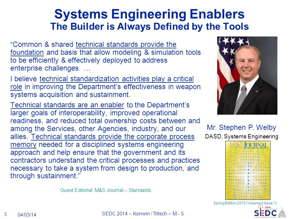 SEDC 2014 – Konwin / Tritsch – M - 5 04/03/14 Systems Engineering Enablers The Builder is Always Defined by the Tools Common & shared technical standards provide the foundation and basis that allow modeling & simulation tools to be efficiently & effectively deployed to address enterprise challenges.