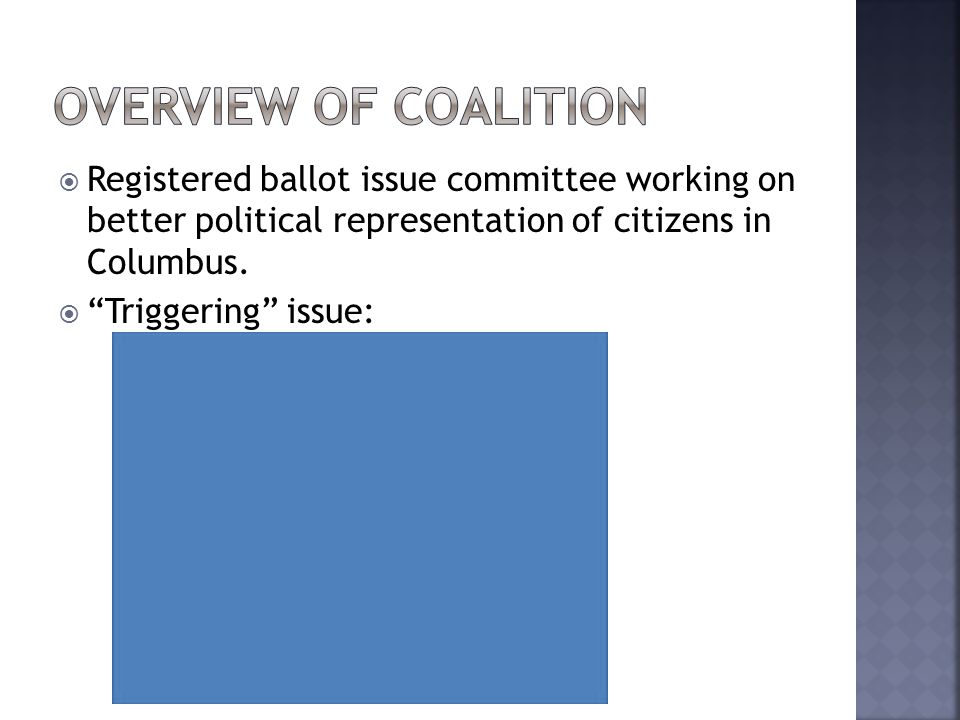  Registered ballot issue committee working on better political representation of citizens in Columbus.