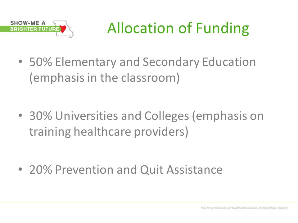 Allocation of Funding 50% Elementary and Secondary Education (emphasis in the classroom) 30% Universities and Colleges (emphasis on training healthcar