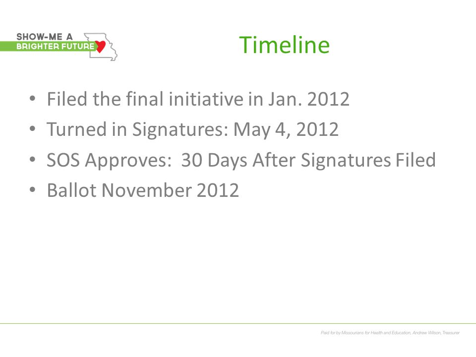 Timeline Filed the final initiative in Jan. 2012 Turned in Signatures: May 4, 2012 SOS Approves: 30 Days After Signatures Filed Ballot November 2012
