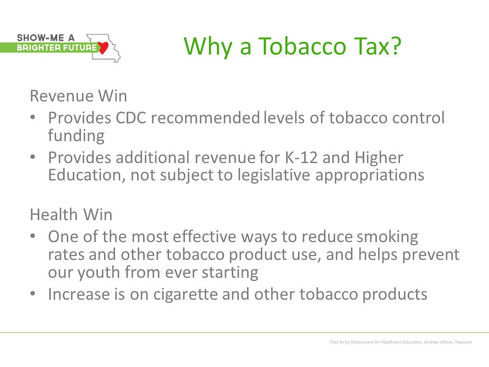 Why a Tobacco Tax.