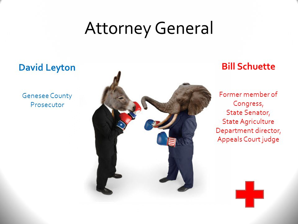 Attorney General David Leyton Genesee County Prosecutor Bill Schuette Former member of Congress, State Senator, State Agriculture Department director, Appeals Court judge