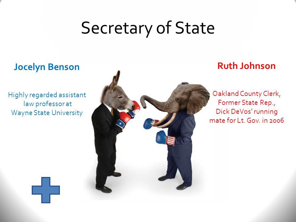Secretary of State Jocelyn Benson Highly regarded assistant law professor at Wayne State University Ruth Johnson Oakland County Clerk, Former State Rep., Dick DeVos' running mate for Lt.