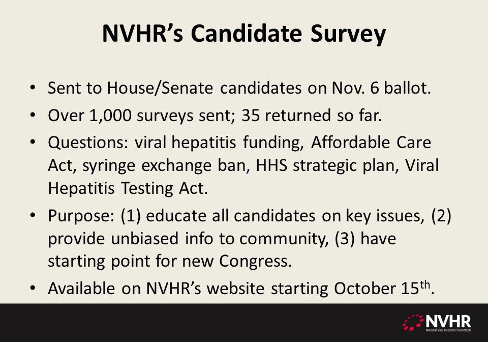 NVHR's Candidate Survey Sent to House/Senate candidates on Nov.