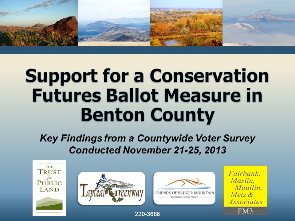 2 Survey Methodology  Telephone interviews with 400 randomly-selected Benton County registered voters likely to cast a ballot in the November 2014 election  Respondents were reached via both landline and cellular telephones  The full sample margin of error is ±4.9% at the 95% confidence interval  The margin of error for population subgroups will be higher  Some figures may not sum to 100% due to rounding