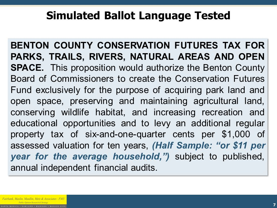 18 If this proposition is approved, the Benton County Board of Commissioners could create a larger pool of funding upfront by using annual revenues from the Conservation Futures Fund to sell bonds.